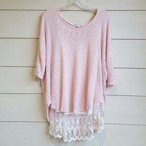 Jolt Baby Pink knit top with lace Hem Sz XL